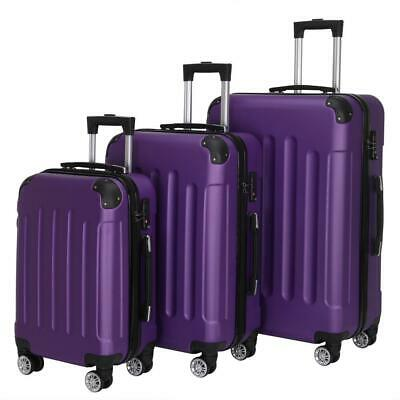 View Details New 3X Travel Spinner Luggage Set Bag ABS Trolley Carry On Suitcase W/TSA Purple • 77.89$