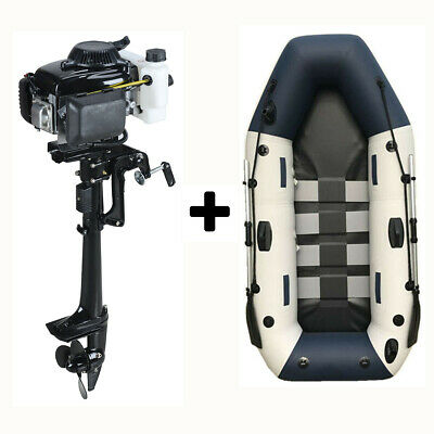 AU1190 • Buy 4-strok 4HP Outboard Motor & 4 Person Inflatable Boat Fishing
