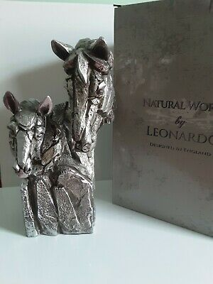 Silver Natural World Resin Horse Pair Bust Animal Statue Sculpture Ornament • 29.99£