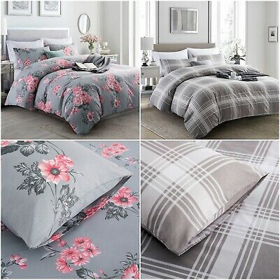 £13.29 • Buy Grey Duvet Cover Set Single Double King Reversible Bedding Set With Pillow Case