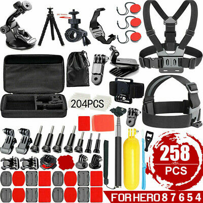 AU22.86 • Buy 258 Pcs Accessories Pack Case Chest Head Floating Monopod GoPro Hero 8 7 6 5 4