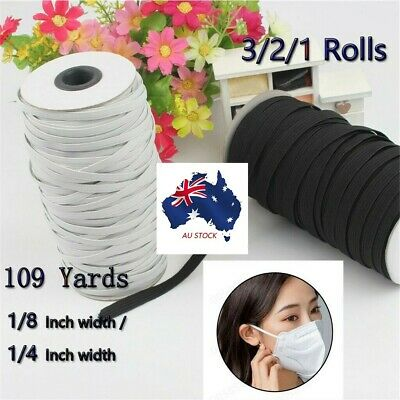 AU39.39 • Buy 1/4or1/8  Wide 109yar Elastic Band For Face Mask Elastic Cord Craft Elastic Rope