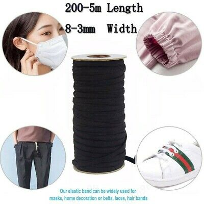 AU9.86 • Buy 6-3mm Flat Elastic Stretch Cord Mask Sewing Black And White 200-5m Long Uk Stock