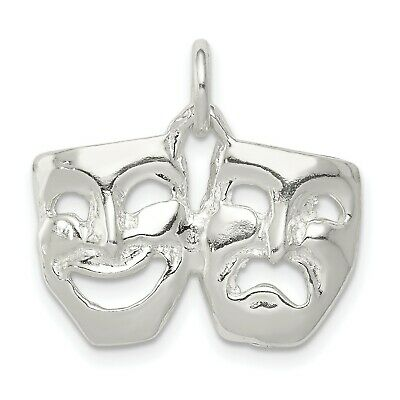 £13.84 • Buy Comedy Tragedy Masks Charm Pendant In 925 Sterling Silver 16 Mm X 21 Mm 2.03gr