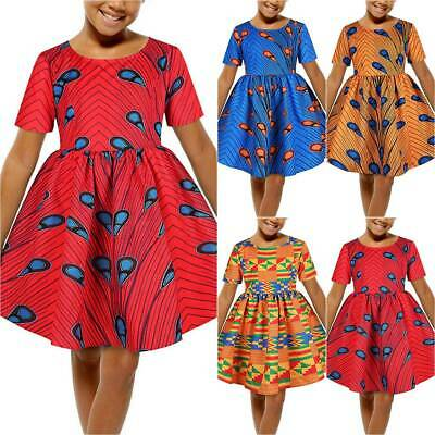 Kids Girls African Swing Dress Casual Summer Holiday Skater Party Mini Dresses • 7.88£