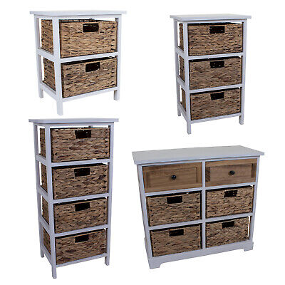 Wicker Drawers Cabinet Chest Unit Bedside Table Bathroom Storage Wooden Basket  • 69.99£