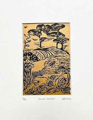 Limited Edition Linoprint, Gold And Black Landscape Art, Gold, Trees, Bees, Art • 30£