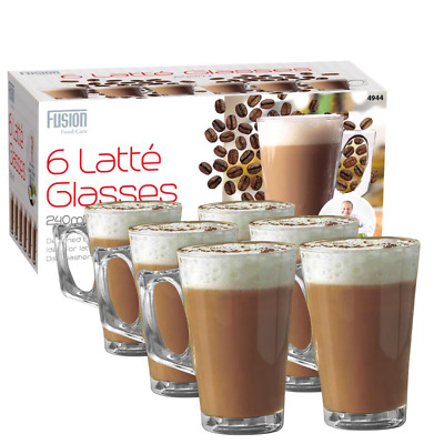 6 X LATTE GLASSES 240ML TEA COFFEE CAPPUCCINO GLASS CUPS HOT DRINK MUGS  • 8.50£