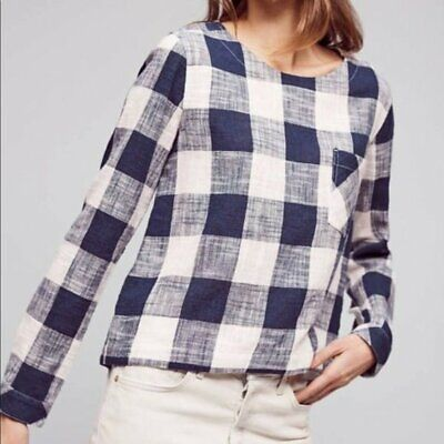 $ CDN50.73 • Buy Anthropologie Cloth & Stone Small Navy Blue & White Gingham Back Button Top