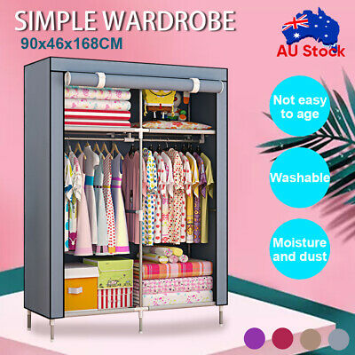AU24.92 • Buy Large Portable Clothes Closet Wardrobe Storage Cabinet Organizer With Shelves
