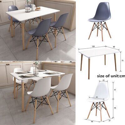 £89 • Buy Rectangle Dining Table And 4 Chairs Set Dinning Room Kitchen Living Room Modern