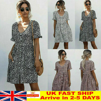 Womens Leopard Print Smock Dress Ladies Holiday Beach Casual Loose Sundress RD • 7.99£