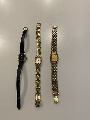 $ CDN17.11 • Buy Womens Watch Lot, 2 Bulova 1 Seiko Gold Black Leather Strap Not Running.