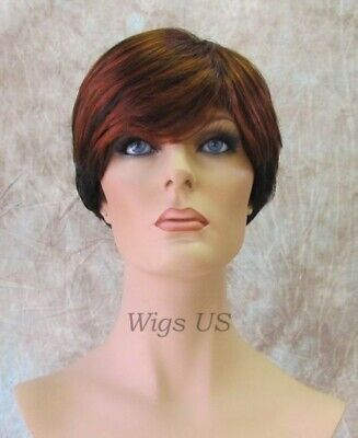 $26 • Buy Times Square 1B/130 Short Wig Two Tone Copper Red Natural Black Feathered Bangs