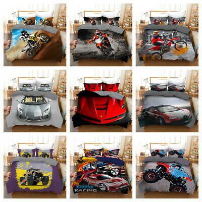 AU36.90 • Buy Automobile And Motorcycle Quilt/Doona/Duvet Cover Pillowcase Bedding Set