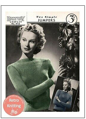 1940's Two Simple Jumpers Knitting Pattern Bust 33-36 Copy • 3.99£