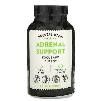Crystal Star Adrenal Energy 60 Veggie Caps Gluten-Free, GMP Quality Assured, • 22.20£
