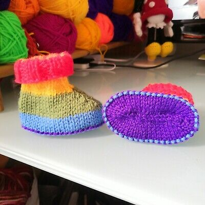 £6 • Buy New Hand Knitted Baby Rainbow Booties/ Shoes/ Boots For Babies Prem To 9 Months