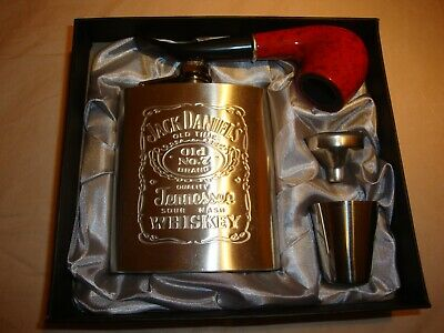 7oz-Jack-Daniels-Hip-Flask-gift-set+Tobacco Pipe-Stainless-Steel-flask-NEW- • 11.99£