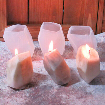 3D Geometric Stone Shape Candle Mould Silicone Mold Aroma Plaster Craft DIY Mold • 4.19£