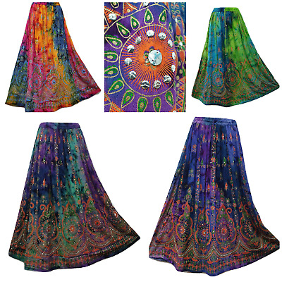 Tie Dye Maxi Skirt Hand Embroidered Sequin Party Dress 8 10 12 14 16 18 20 22 24 • 16.99£