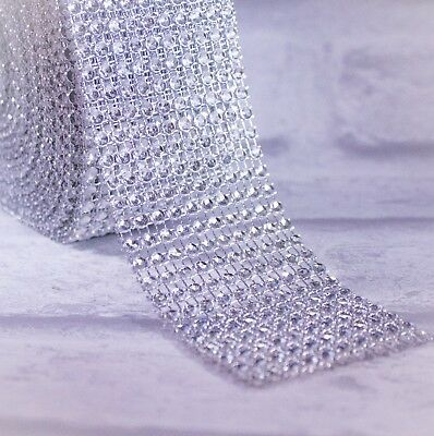 Diamante Effect Ribbon Silver Trim Cake Bridal Wedding Craft 1 2 3 5 10 24 Rows • 0.99£