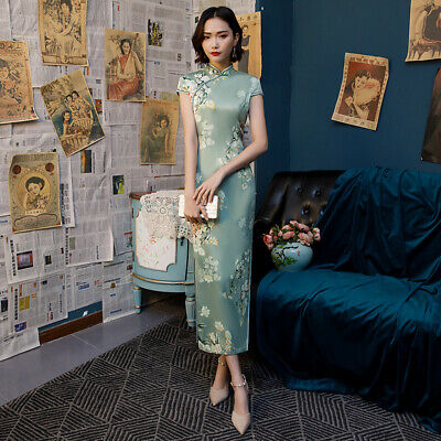 $ CDN52.58 • Buy Chinese Style Ladies Floral Long Cheongsam Faux Silk Dress Prom Qipao Party Gown