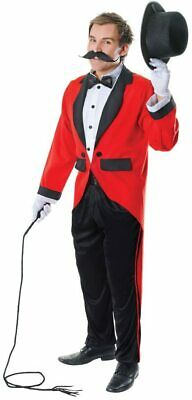 Mens Victorian Red Ringmaster Greatest Circus Showman Fancy Dress Costume New L • 24.99£