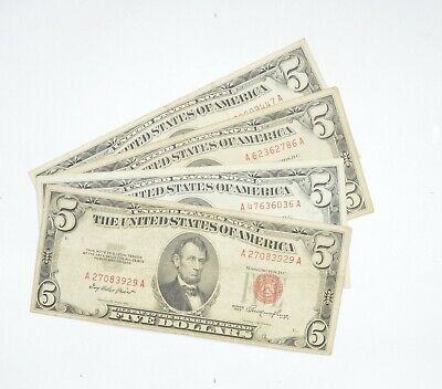 $ CDN34.90 • Buy Lot Of (4) $5.00 Red Seal US Notes Currency Collection $5 1963 Or 1953 *602