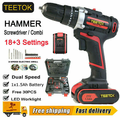 View Details CORDLESS COMBI HAMMER IMPACT DRILL DRIVER ELECTRIC SCREWDRIVER &2 BATTERIES 21V • 50.40£