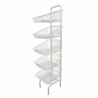 5 Tier White Basket Stand Shop Display For Bread, Snacks, Clothes Or Toys (Q5) • 74.99£
