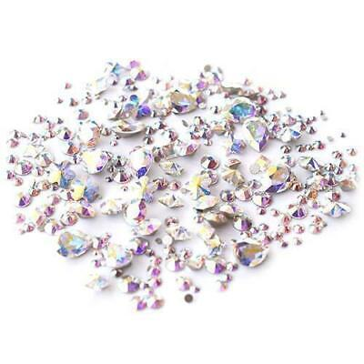 Approx 200 Genuine Stunning AB Crystals/ Gems. Flat Back Holographic Nail Art UK • 3.25£