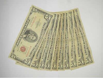 $ CDN76.52 • Buy Lot Of (10) $5.00 Red Seal Old US Notes Currency Collection $5 1963/1953 *359