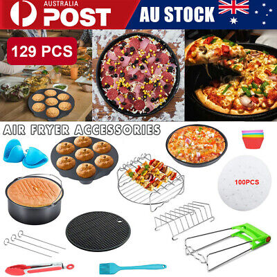 AU23.93 • Buy 130 PCS 8  Air Fryer Frying Cage Dish Baking Pan Rack Pizza Tray Pot Accessories