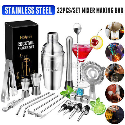22Pc/Set Cocktail Boston Shaker Making Kit Stainless Steel Mixer Making Bar Tool • 20.99£
