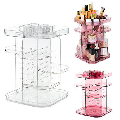 360°Rotating Makeup Organiser Stand Acrylic Cosmetic Jewelry Perfumes Display UK • 10.95£