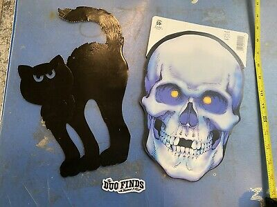 $ CDN21.14 • Buy Vintage Lot Of 2 Beistle Eureka Halloween Die Cut Wall Window Skull & Black Cat