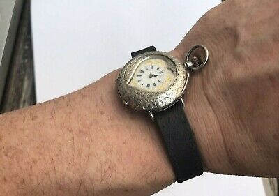 Lovely Antique 1908 Solid Silver Heart Watch Converted To The Wrist In The 1920s • 280£
