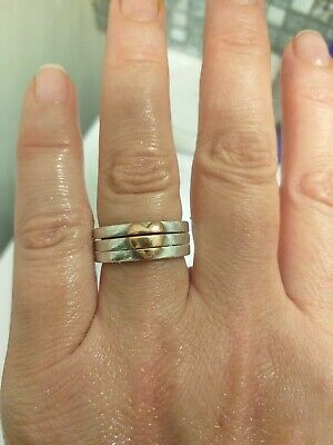 Welsh Clogau Silver & Rose Gold Cariad Triple Heart Ring Size L RRP £159 • 59£