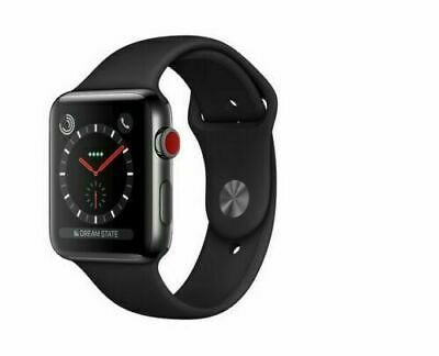 $ CDN454.97 • Buy Apple Watch Series 3 42mm Stainless Steel-Ceramic Back GPS+LTE Sport Black Band