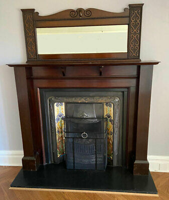 Large Tiled Victorian-Style Fireplace With Wood Surround And Mantle Mirror • 750£