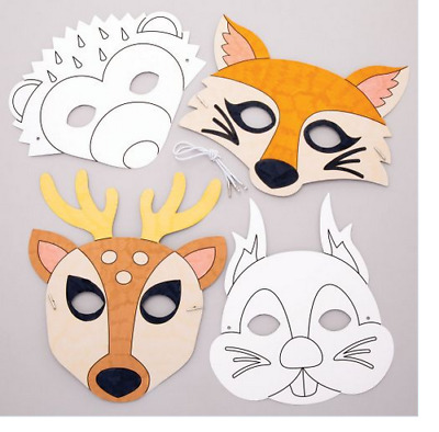 £4.49 • Buy Woodland Animals Face Masks Colour-in Craft Activity 4, 8 Party Packs Boys Girls
