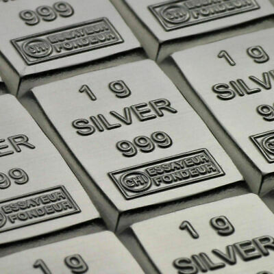 3 G Pure Silver INVESTMENT-INGOTS (3 X 1 Gram) Bullion Valcambi Suisse. *UK * • 10.99£