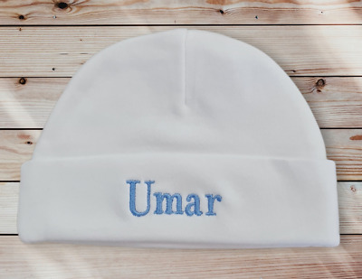 £3.99 • Buy Personalised Embroidered Cotton  TINY BABY /NB /0-3 / PREM Hats 3 Colours