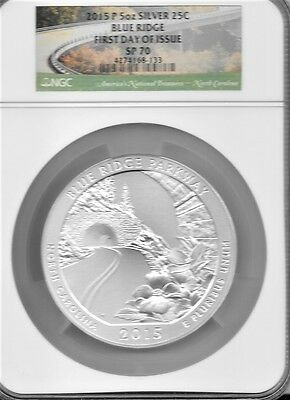 $ CDN401.84 • Buy 2015 P 5 Oz. Silver 25c Blue Ridge Parkway  SP 70 NGC FIRST DAY OF ISSUE.