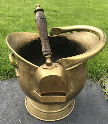 Vintage Brass Coal Skuttle Scuttle / Bucket And Shovel • 55£