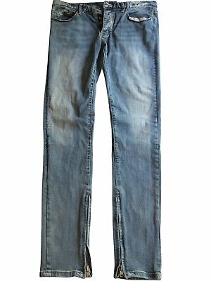 $ CDN33.50 • Buy MNML Mens Jeans Buttonfly Ankle Zippers Size 33 Slim Fit Blue