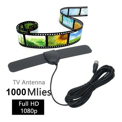 TV Aerial Indoor HDTV Digital Antenna HD Freeview Signal Booster 980 Mile Thin • 4.99£