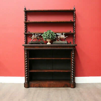 AU1795 • Buy Antique Open Bookcase, English Rosewood Display Cupboard Narrow Hall Cabinet