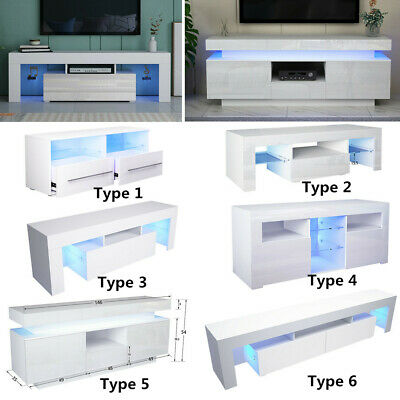 White TV Unit Cabinet Stand High Gloss Front Display Sideboard LED Light -6Types • 145£